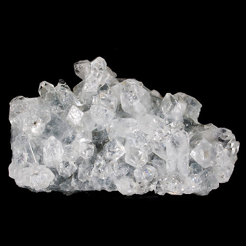 Dozens of terminated crystals of clear Apophyllite cover the front of this matrix plate from Jalgaon, Mahatashtra, India.