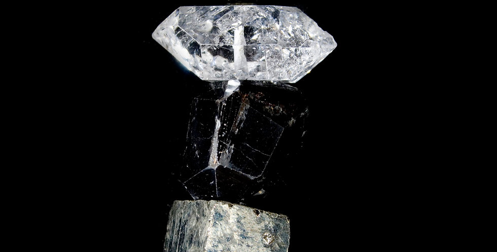 Stunning natural crystals of Pyrite Tourmaline & Quartz Crystals hand drilled on thin black Vegan cordingcreate elegant