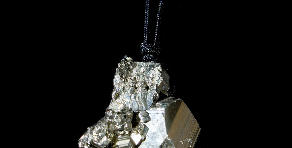 """The SweetSatya® Pyrite Pendant. A dynamic, specimen-quality Pyrite crystal hand laced with thin black vegan cording. 28"""" Cord"""