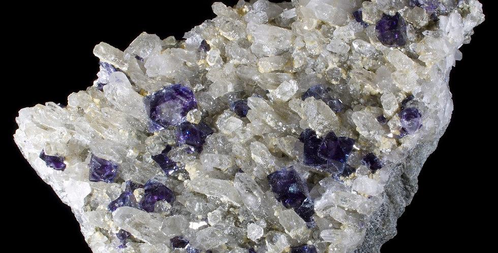 Violet Purple Fluorite on Quartz, Inner Mongolia, China