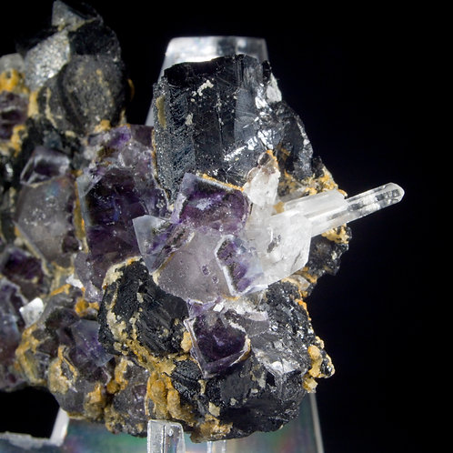 Fluorite, Wolframite, Calcite and Quartz. Yaogangxian Mine, Hunan, China. Two generations of Fluorite and more!
