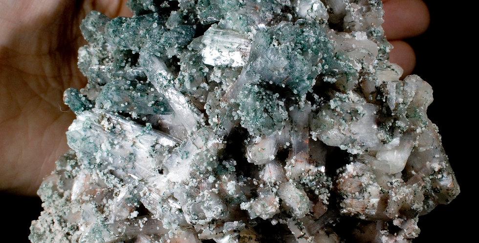 Green to White Transitional Celadonite Included Stilbite. Studio Mineralia Earth Art Gallery