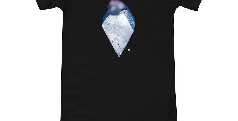 Blue Heart Aquamarine Crystal Baby Short Sleeve Onesie