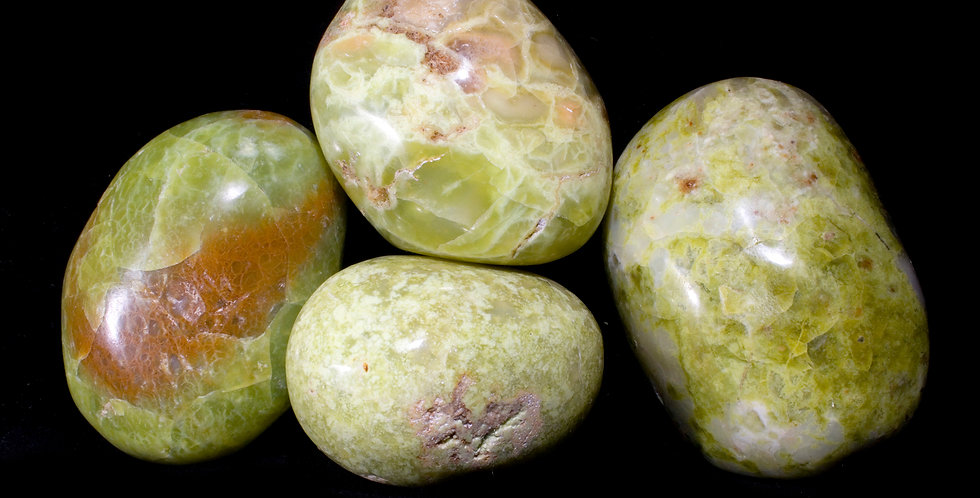 The smooth, gently waxy feel of these large Green Opal Palm Stones is unique and calming, similar to Jade.