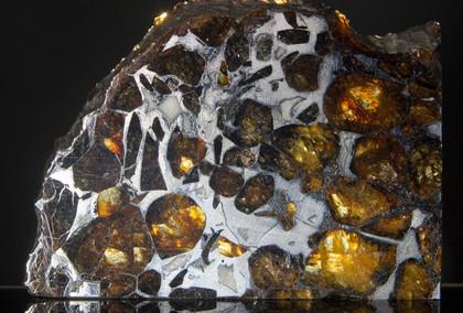 Pallasite Meteorite, Imilac, Front.  4.3 cm x 3 cm SMIM04