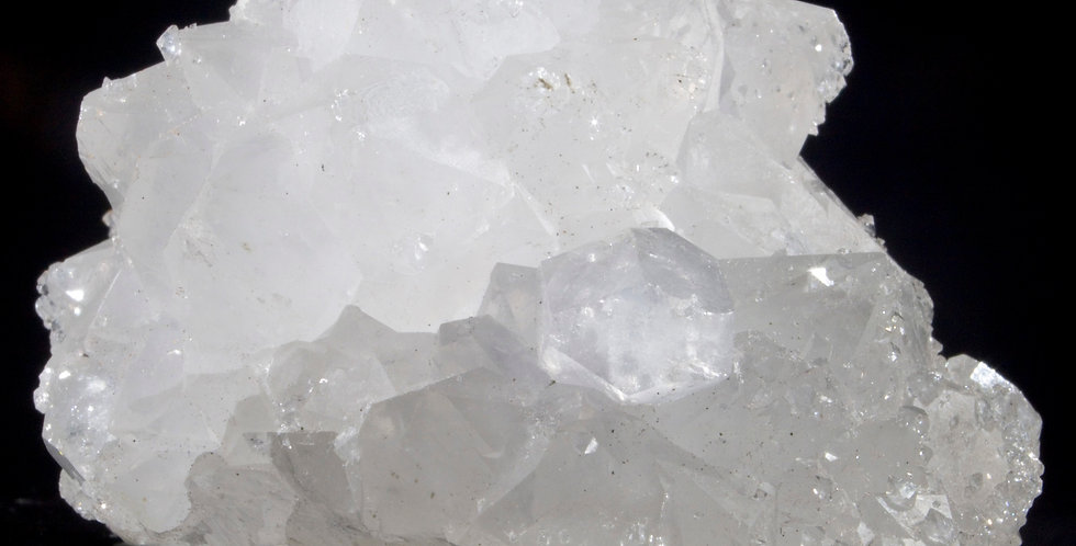 A 360 degree stalactite-cap of small scale, translucent Quartz crystals with a secondary mineralization of sparkling micro-fo