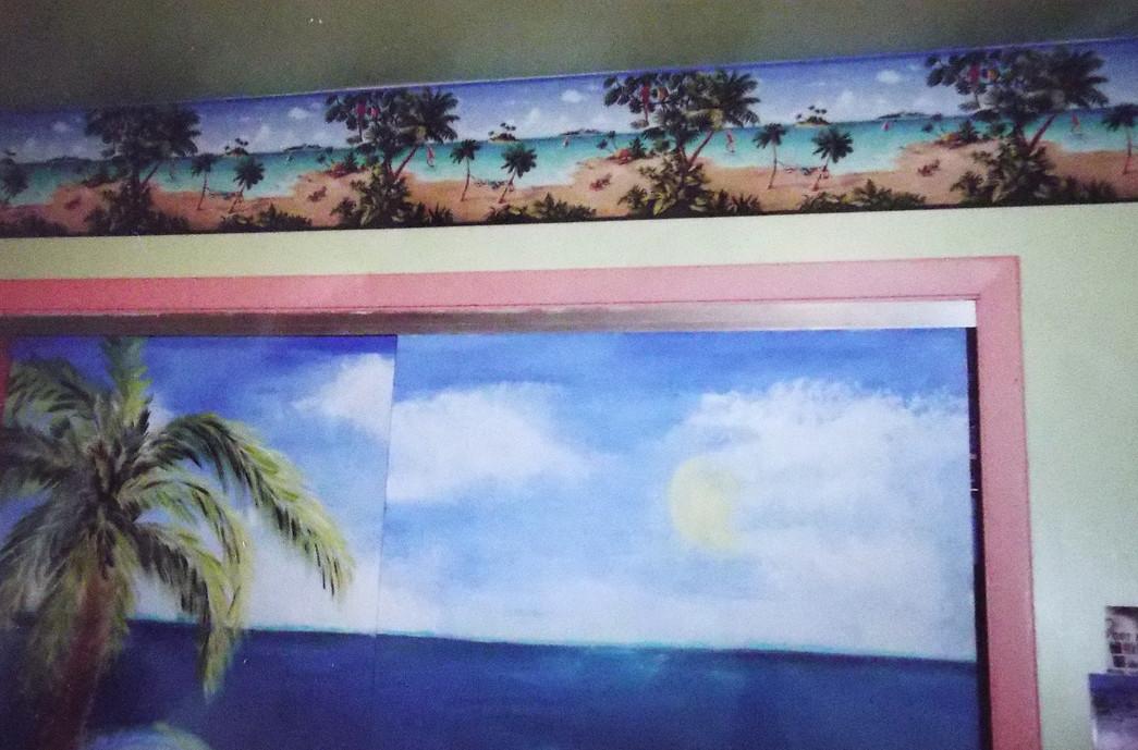 Mural on closet door