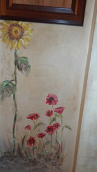 Floral painting on wall
