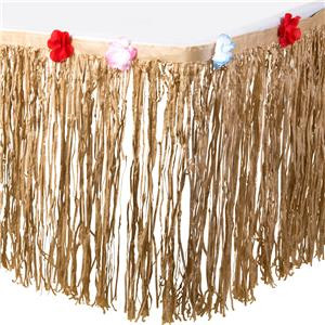 Grass table skirt jungle party blog Poppy's Parties