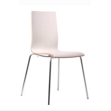 (Miete) Stuhl «White», Holzschale weiss, Gestell verchromt