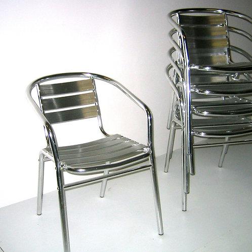 (Miete) Bistro-Stuhl «Alu» mit Armlehne