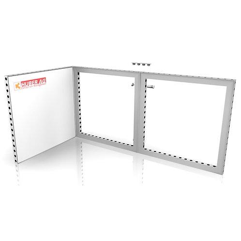 (Miete) Absperrungs Matrix Rahmen liegend  3 m x 1 m hoch weiss