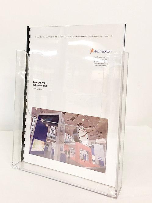 Prospekthalter A4 hoch, hochkant, transparent