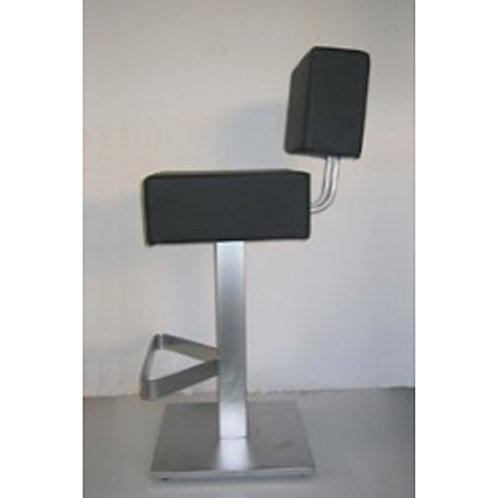 (Miete) Barsessel «Flat», Sitzfläche schwarz, Gestell Alu gebürstet