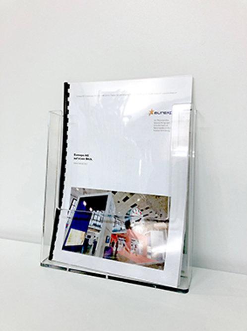 (Miete) Prospekthalter A4 niedrig, hochkant, transparent