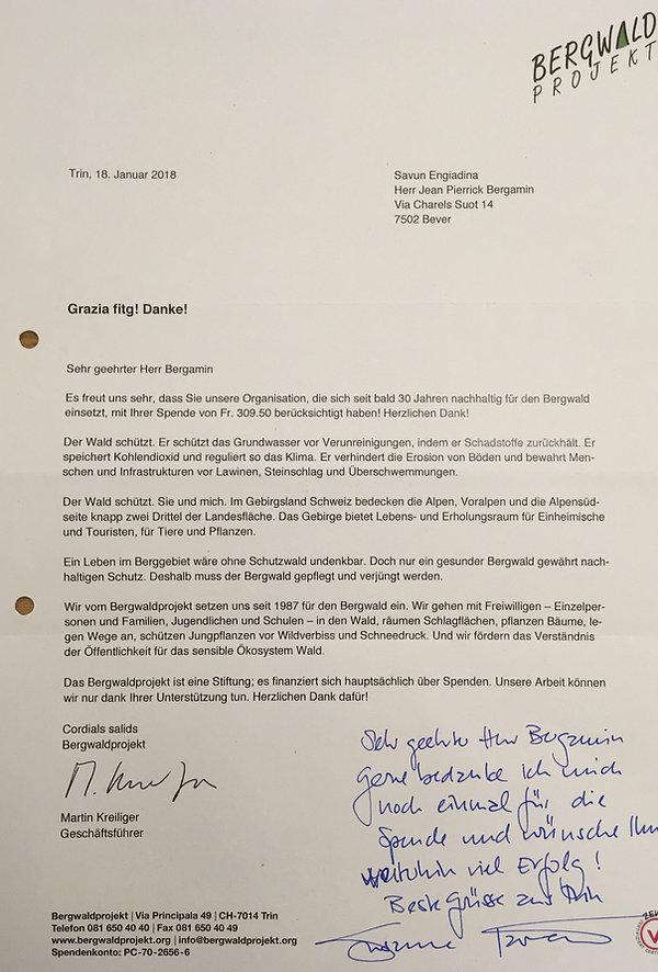 Brief Bergwaldprojekt
