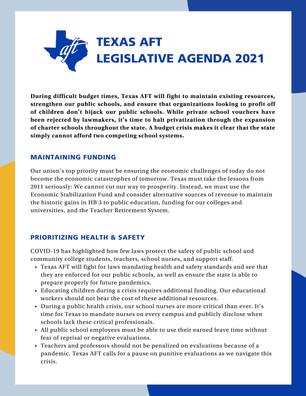 2021 Legislative Agenda for Texas AFT