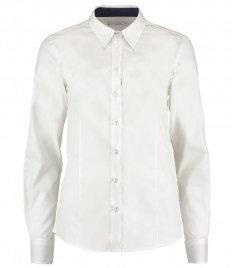 Kustom Kit Ladies Premium Long Sleeve Contrast Tailored Oxford Shirt