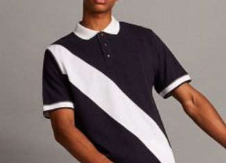 Front Row Diagonal Stripe Cotton Piqué Polo Shirt