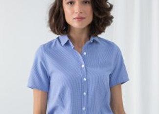 Henbury Ladies Gingham Short Sleeve Shirt