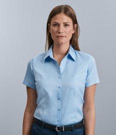 Russell Collection Ladies Short Sleeve Herringbone Shirt
