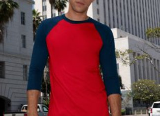American Apparel Unisex 3/4 Sleeve Contrast Baseball T-Shirt
