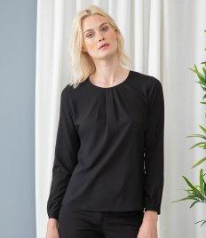 Henbury Ladies Pleat Front Long Sleeve Blouse