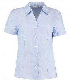 Kustom Kit Ladies Pinstripe Short Sleeve Tailored Shirt