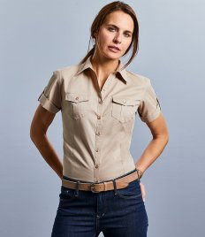 Russell Collection Ladies Short Sleeve Twill Roll Shirt