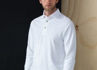 Henbury Long Sleeve Cotton Piqué Polo Shirt