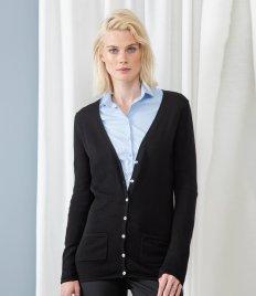 Henbury Ladies Cotton Acrylic V Neck Cardigan