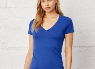 Bella Ladies Jersey Deep V Neck T-Shirt