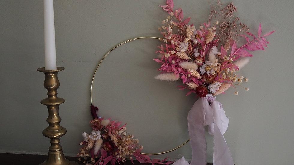 Dried Flower Hoop- Pink