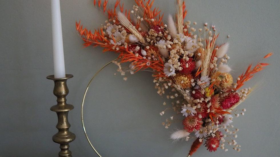Dried Flower Hoop- Orange