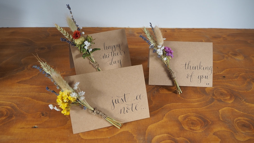 Dried flower greetings cards