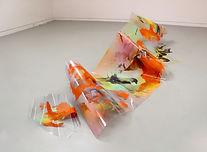 Sculptural painting installation on clear surface