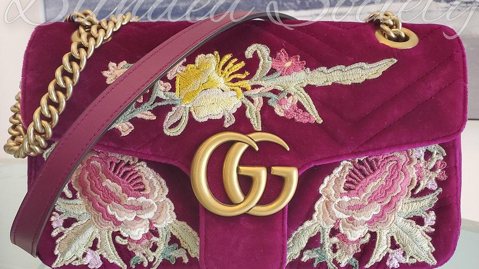 Gucci Fuscia Velvet GG Marmont Chain Crossbody Bag
