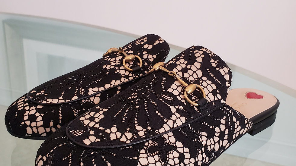 Gucci Princetown Loafers Black Lace Backless Slippers