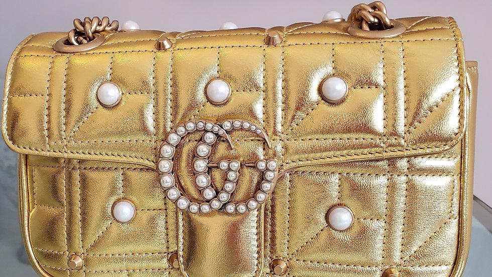 Gucci Marmont Mini Pearl Gold Studded Cros