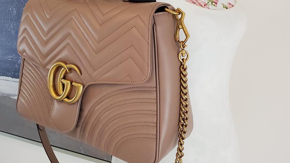 Gucci Marmont Medium Top Handle Handbag Porcelain Rose Leather