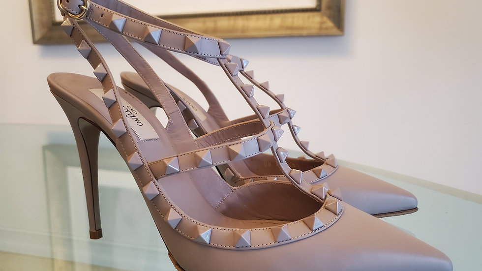 Valentino Rockstud Poudre Nude Tonal Ankle Strap High Heels