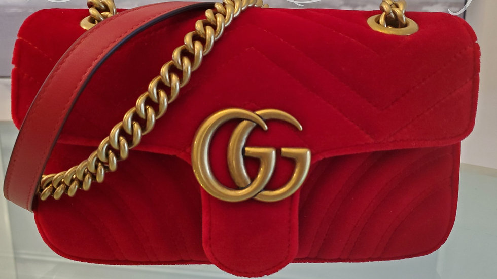Gucci Red Velvet GG Marmont Mini Chain Crossbody Bag