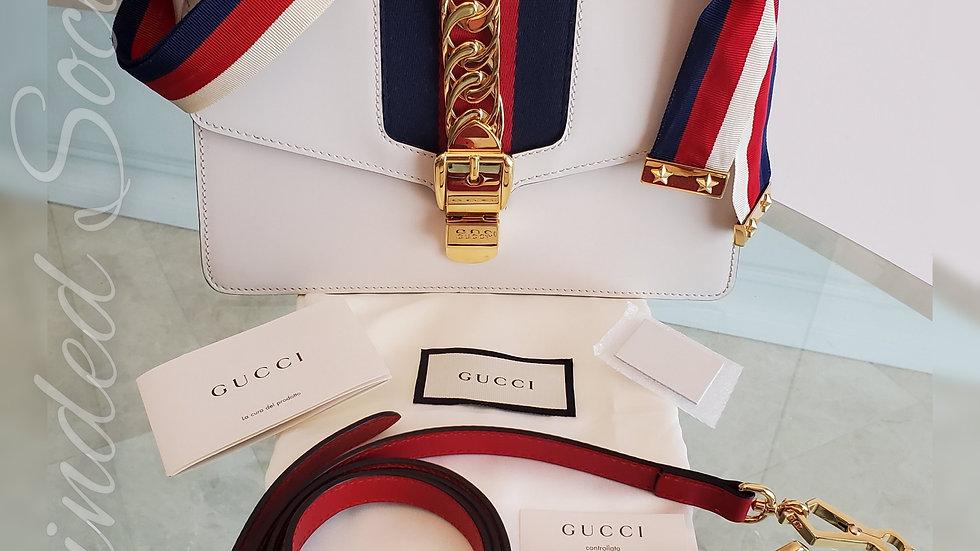 Gucci Sylvie White Leather Shoulder Bag with bonus Crossbody Strap