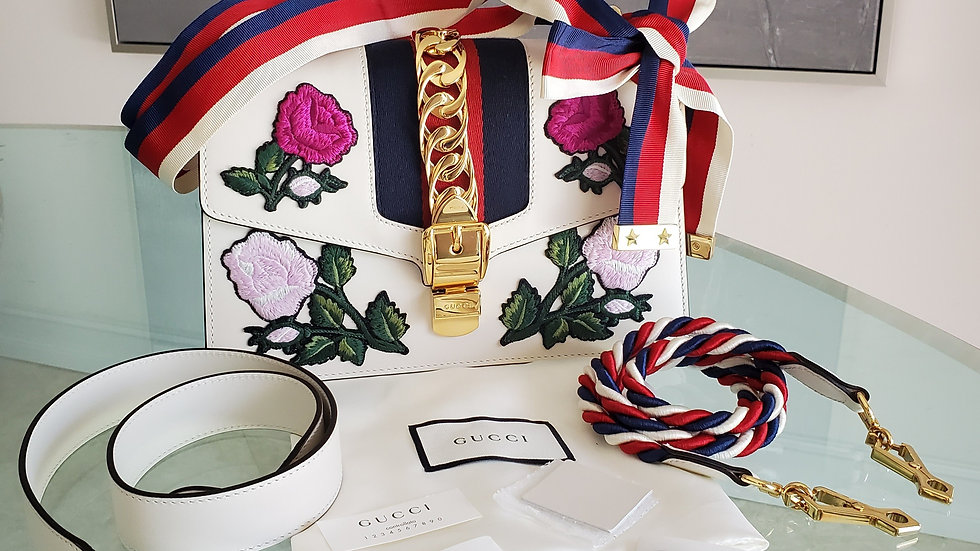 Gucci Sylvie Small White Embroidered Handbag