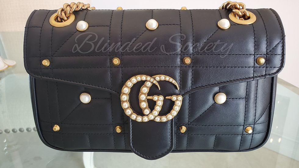 Gucci Marmont Small Pearl Black Studded Crossbody Bag