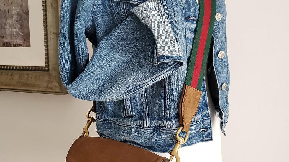 Gucci Lady Web Medium Crossbody Tan Suede Handbag