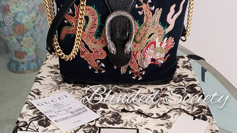 Gucci Dionysus Medium Handbag with Embroidered Dragon