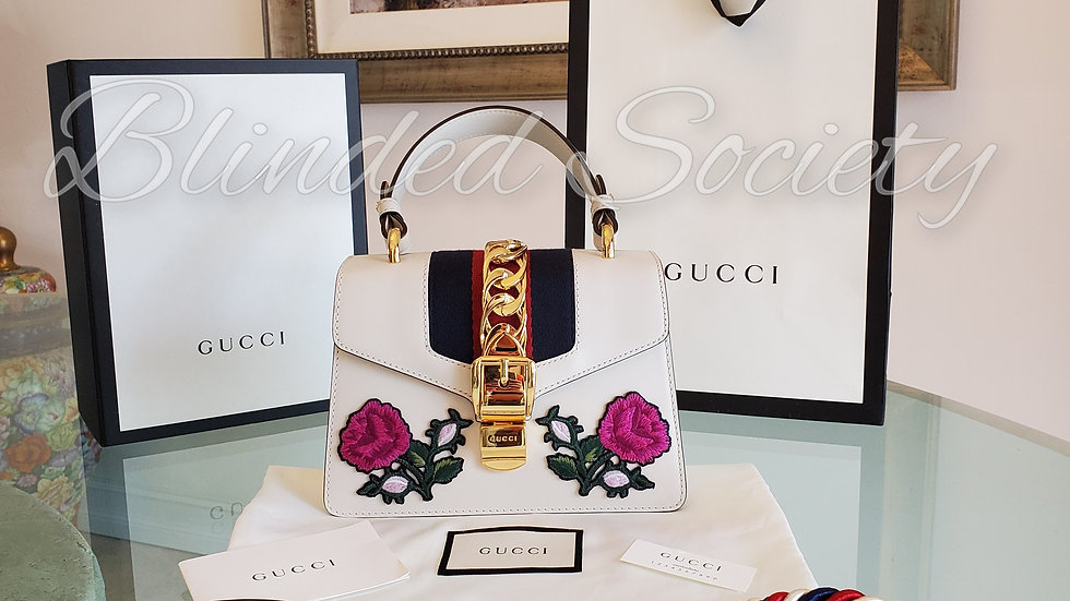 Gucci Sylvie Mini White Leather Floral Embroidery Crossbody Bag