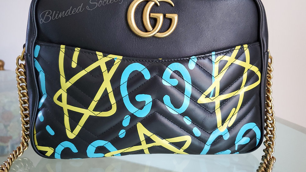 Gucci Medium Marmont Ghost Crossbody Handbag Black Leather