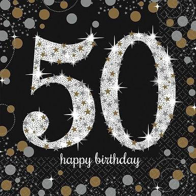 """Servietten  """"Happy Birthday 50"""" in gold/silber/schwarz"""